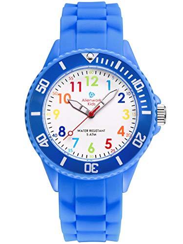 Alienwork Kids Lernuhr Kinderuhr Jungen Mädchen Blau Silikon-Armband Mehrfarbig Kinder-Uhr Wasserdicht 5 ATM