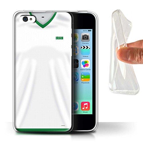 Handy Hülle kompatibel mit Apple iPhone 5C Weltmeisterschaft 2018 Fußball Trikot Iran/Iranisch Transparent Klar Ultra Sanft Flexibel Silikon Gel/TPU Case Cover