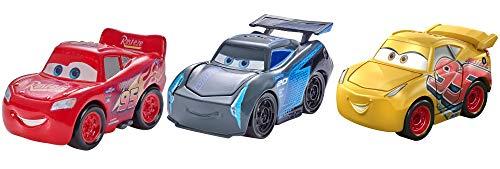 Disney Pixar Cars mini-véhicules, 3 petites voitures miniatures, Flash McQueen, Cruz Ramirez et Jackson Storm, jouet pour enfant, FPT71