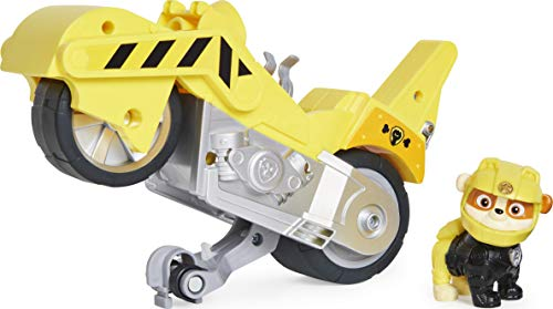 PAW PATROL Moto Pups Rubble's Deluxe Pull Back Motorcycle Vehicle with Wheelie Feature and Figure Rubble-Vehículo Ruedas (Spin Master 6060543)