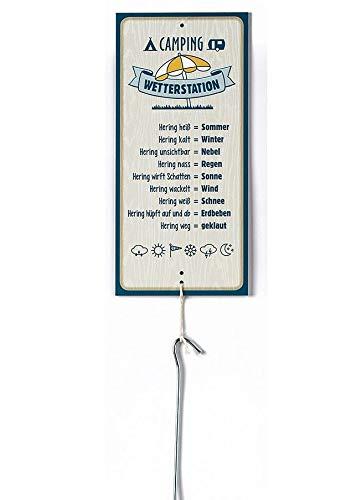 G.Handwerk Metall Schild Wetterstation Camping 30x14cm mit Hering Geschenk Garten Deko