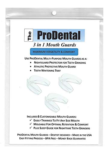 Professional Mouth Guard for Grinding Teeth - 6 Customizable Dental Guards - 2 Sizes, USA Made, BPA Free | Eliminate Bruxism, Teeth Clenching | Also for Sports & Teeth Whitening