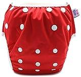 PINK & BLUE Schwimmwindel Schwimmhose Baby und wiederverwendbar Badehose für Jungen und Mädchen (4,5-16 kg) umweltfreundlich schonend für das Fell (Rot, Medium)
