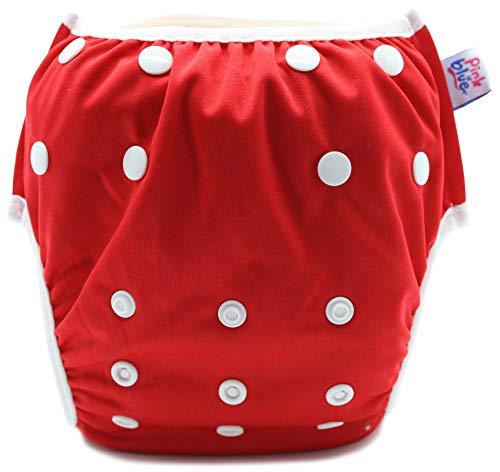 PINK & BLUE Schwimmwindel Schwimmhose Baby und wiederverwendbar Badehose für Jungen und Mädchen (7-20,5 kg) umweltfreundlich schonend für das Fell (Rot, Large)