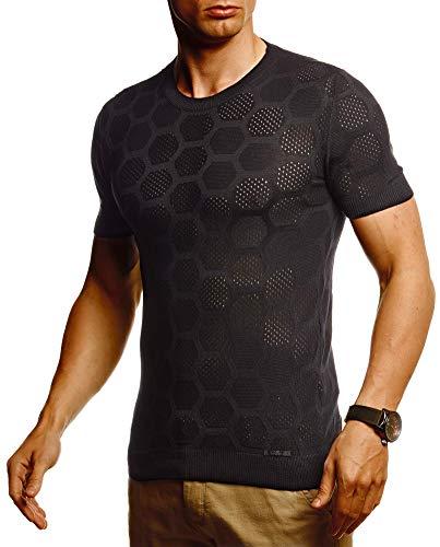 Leif Nelson Herren Sommer T-Shirt Rundhals Ausschnitt Slim Fit aus Feinstrick Cooles Basic Männer T-Shirt Crew Neck Jungen Kurzarmshirt O-Neck Sweater Shirt Kurzarm Lang LN20766 Schwarz Large