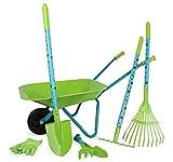 Small Foot- Großes Gartenset mit Schubkarre aus Holz und Metall, 7-Teiliges Set, Outdoor-Spielzeug Juguete, Multicolor (12014)