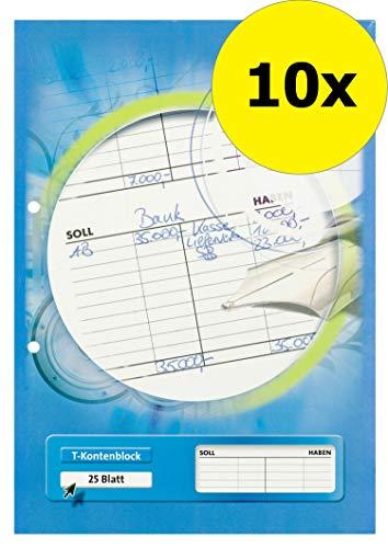 LANDRE 100050663 T-Kontenblock 10er Pack A4 gelocht 25 Blatt 80 g/m² kopfgeleimt