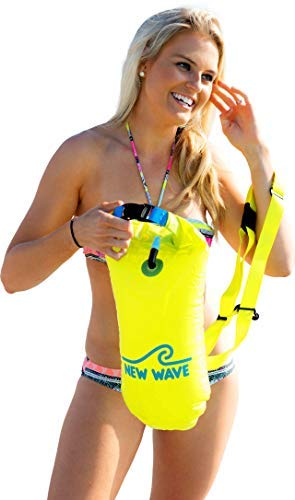 New Wave Swim Buoy - Swimming Tow Float and Drybag for Open Water Swimmers and Triathletes - Light and Visible Float for Safe Training and Racing (Fluo Green 15 Liter PVC Bundle)