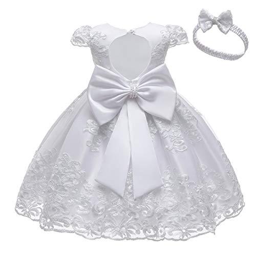 HOIZOSG Vestidos de bebé para niñas pequeñas, bautizo, tutú, vestido de princesa, bowknot boda, cumpleaños, bautismo, vestidos de fiesta w/headwear, blanco, 2-3 Años