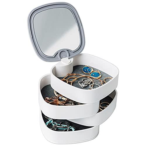 Organizador de joyas, bandeja para joyas, soporte para pendientes con espejo, 4 capas, joyero giratorio para mujer, caja pequeña para guardar pendientes, anillos, pulseras (color blanco)