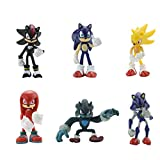 6 Pcs Sonic The Hedgehog Action Figures Super Sonic Metal Sonic Knuckles Shadow Werehog - Sonic Toys Set Minifigures Toys 2.16-2.75'