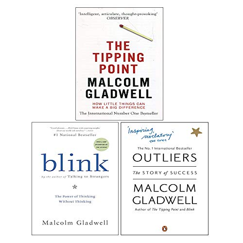 Price comparison product image Malcolm Gladwell Collection 3 Books Set (The Tipping Point,  Blink The Power of Thinking Without Thinking,  Outliers The Story of Success)
