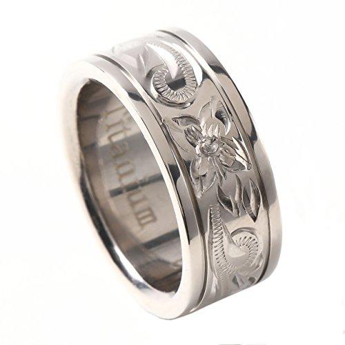 リング チタン メンズ レディース 16号相当 8mm 指輪 男性用 女性用 男女兼用 ハワイアンジュエリー (チタン, 16)