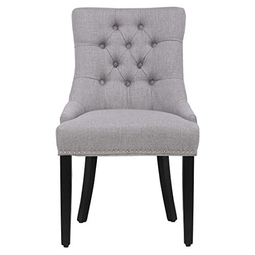 WestinTrends Upholstered Wingback Button Tufted Dining Chair, Gray