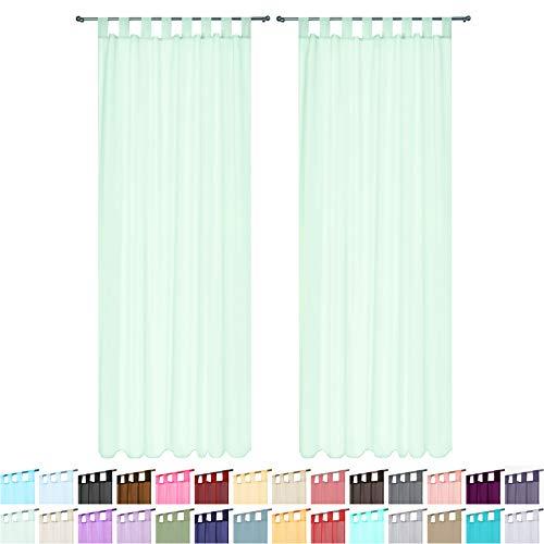 Megachest Lucy Voile-Vorhang mit Schlaufen, gewebt, 2 Stoffbahnen mit Bindebändern (28 Farben) (Hauch von Minze, 142 cm breit x 228,5 cm)