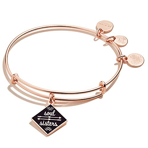 Alex and Ani Soul Sisters Expandable Bangle Bracelet for Women, Friendship Inscription Charm, Shiny Rose Gold Finish, 2 to 3.5 in
