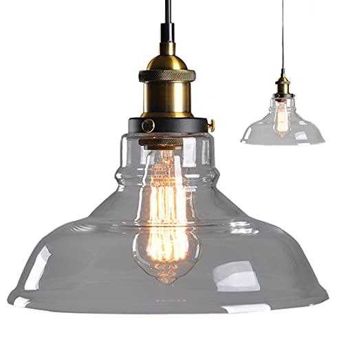 Edison Lámpara colgante de vidrio vintage Glass Hanging Light colgante simple Pantalla de vidrio Lámpara ajustable Adecuado para bar, restaurante, cafetería, sala de estar