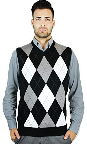 Blue Ocean Argyle Sweater Vest-Small, Black
