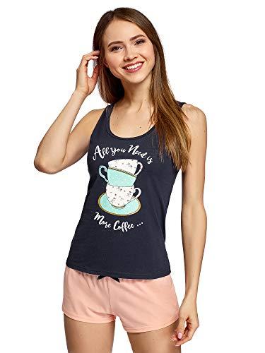 oodji Ultra Mujer Pijama de Camiseta de Tirantes y Pantalones Cortos con Estampado, Azul, ES 40 / M
