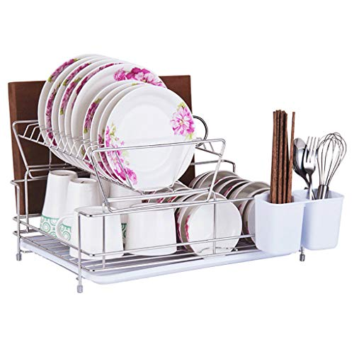 SH-lsj roestvrijstalen afdruiprek met lekbak en bestekhouder multifunctioneel keukenrek (2-dieren)