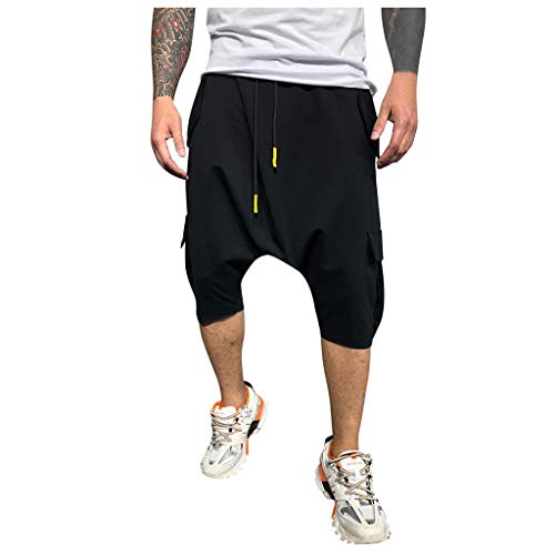 Hombre Pantalones Harem - Pantalones Cortos 3/4 Cómoda Cintura Elástica Pantalones con Cintura Moda Color Sólido Sueltas Casuales Yoga Hippies Pantalon Bombachos Yvelands(Negro,L)