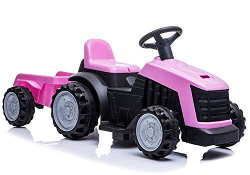 Lean Toys Vehículo infantil eléctrico tractor con remolque, color rosa