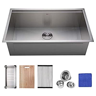 Enbol 32x19 Inch Large Undermount Single Bowl Stainless Steel Deluxe Workstation Kitchen Sink with Colander, Wood Cutting Board, Roll-up Rack, Bottom Grid and Strainer All in