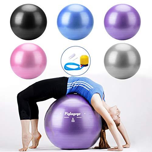 Swiss Ball Ballon Fitness pour Ballon Pilates, Yoga, Gym, Grossesse, Sport, Musculation, Equilibre, Gros Ballon Siege Bureau Gonflable, Gym Ball Stabilité Anti Explosion avec Pompe à Pied (55cm Rose)