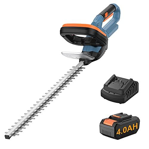 Taille-haie sans Fil, 20 V 4,0 Ah Puissant Taille-haie électrique sans Fil avec Lame à Double Action de 20 po, Taille-haie à Espacement de Lame de 0,55 po avec Poignée Arrière Rotative à 180 °