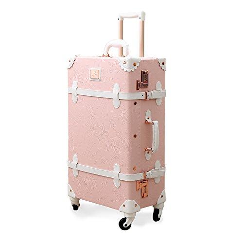 Uniwalker キャリーケース ピンク トランクケース 可愛い レトロ トランク 四輪 超軽量 復古主義 キャリーバッグ かわいい s型 スーツケース 機内持込 suitcase (XL (26)型, ピンク)