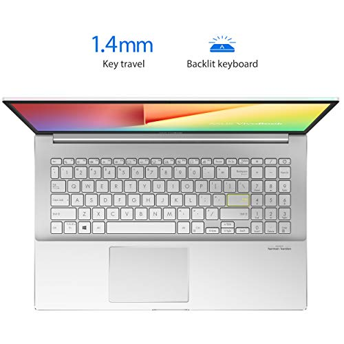 """ASUS VivoBook S15 S533 Thin and Light Laptop, 15.6"""" FHD Display, Intel Core i7-1165G7 CPU, 16GB DDR4 RAM, 512GB PCIe SSD, Fingerprint Reader, Wi-Fi 6, Windows 10 Home, Dreamy White, S533EA-DH74-WH"""