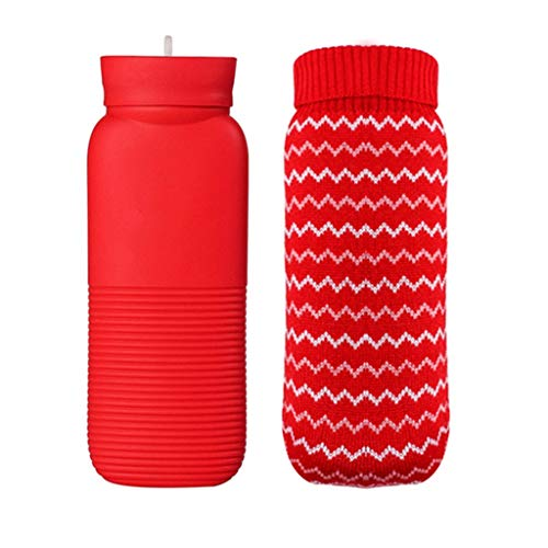 TZSMRSD Bottiglia in Silicone Acqua Calda più Caldo Scaldapiedi Portatili scaldino della Mano Portatili, più Colori Disponibili (Telo di Copertura Gratuito) (Colore : Rosso)