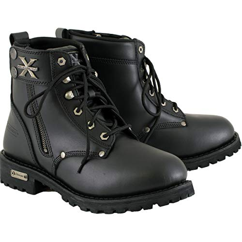 Xelement 1505 Men's Black Advanced Lace-Up Motorcycle Boots - 10.5