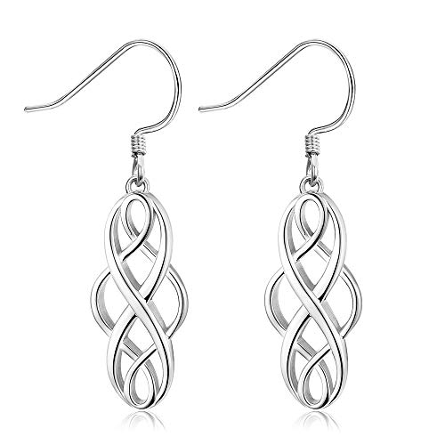 Sllaiss 925 Sterling Silver Celtic Knot Dangle Earrings Good Luck Irish Celtic Knot Vintage Drop Earrings Celtic Jewelry for Women