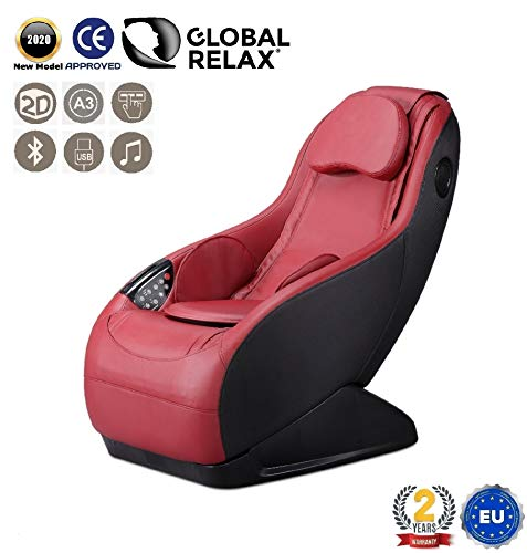 GURU Fauteuil de massage et relax - Rouge (mod. 2020) – 3 modes massage – Son surround 3D -...