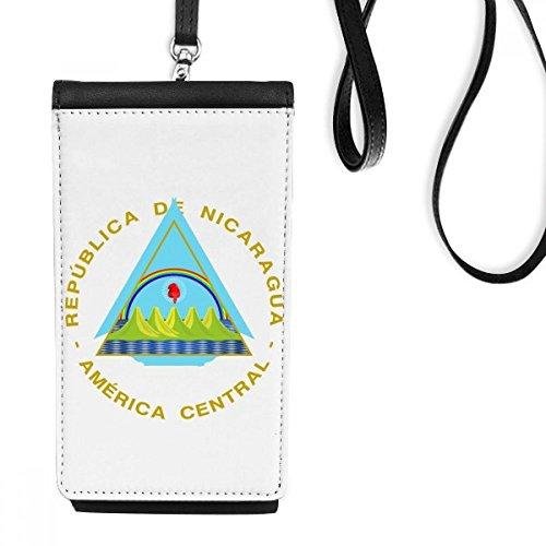 DIYthinker Nicaragua Emblema Nacional de Cuero de imitación Smartphone Colgando Monedero Negro Teléfono Regalo Monedero