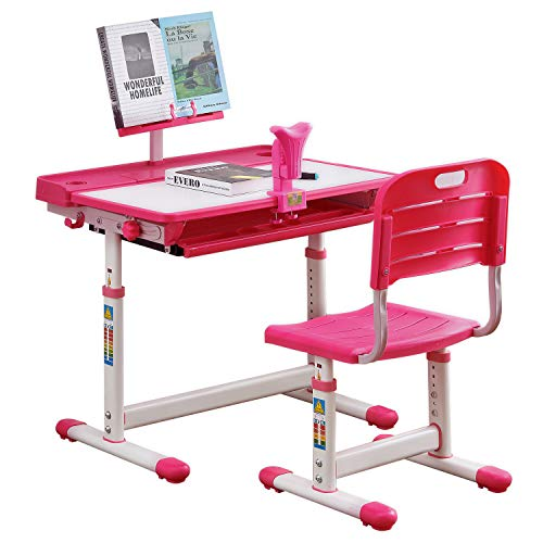 BOJOY Kids Desk,Kids Study Table and Chair Set Adjustable Children Desk School Student Writing Desk w/Pull Out Drawer Storage,Pencil Case,Bookstand...