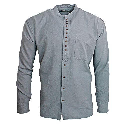 Civilian Irish Grandfather Collarless Shirt - Cotton/Linen Blend (Cloud, M)