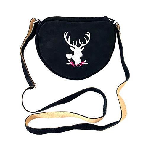 Kleine Trachtentasche Dirndltasche Umhängetasche mit Trachten-Stickerei Wild-Leder...