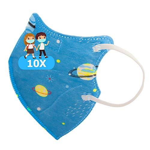 TBOC Mascarillas FFP2 Infantiles [Pack 10 Unidades] Desechables para Niños [Planetas y Estrellas] Cinco Capas [No Reutilizables] Transpirables Plegables con Pinza Nasal [Certificadas y Homologadas]