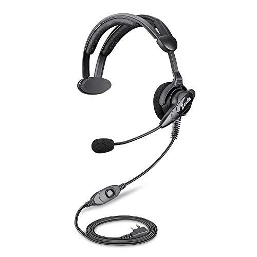 Zeadio ohraufliegende Hörmuschel Headset mit Drehgelenk Boom Mikrofon für 2 Pin Kenwood Baofeng PUXING Walkie Talkie Zwei-Wege-Radio
