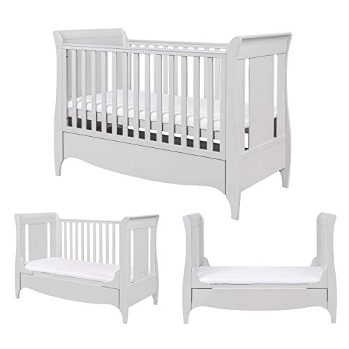 Tutti Bambini Roma Wooden Sleigh Cot Bed with Space Saver Under Bed Drawer - 140 x 70cm 3 Adjustable Positions (Dove Grey)