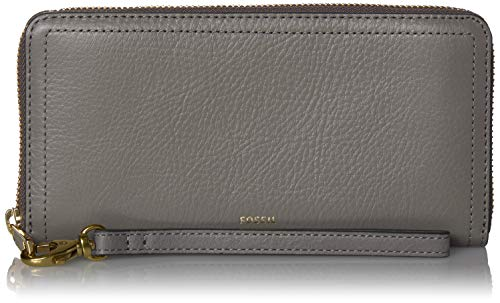 Fossil Women's Logan Leather RFID Zip Around Clutch Wallet, Shadow