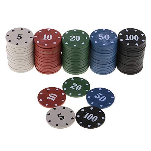 YOUAI Moneda de negociación, Yuncang 100 fichas Redondas de plástico para Casino, Juego de Cartas, bacará, Accesorios para Contar, Dados, Entretenimiento, Chip 5/10/20/50/100 Exquisito y Duradero