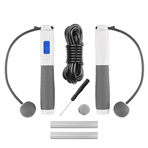 AIDBUCKS Jump Rope with Digital Weight Rep Time Calorie Counter - Weighted Handles Tangle-Free Skipping with Ball Bearings for Adults and Kids (White/Gray)