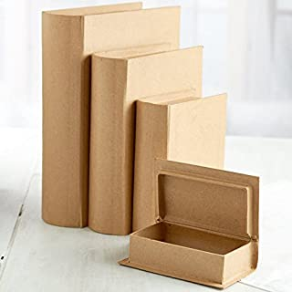 Factory Direct Craft Assorted Size Unfinished Paper Mache Book Boxes - 4 Boxes