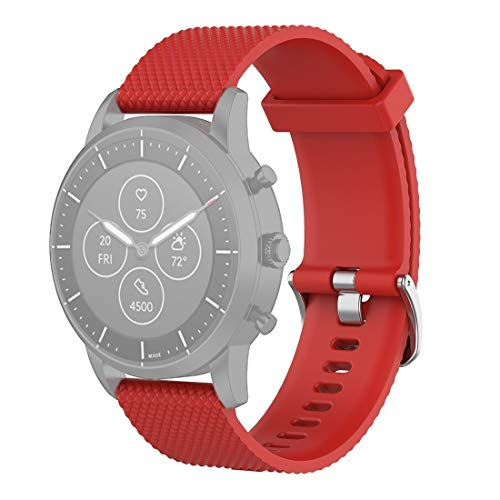 Peishi 22mm Textura de Pulsera de Silicona Reloj Correa de Banda de fósiles híbrido SmartWatch HR, Hombre Gen 4 Explorist HR, Hombre Deporte (Negro) Electrónica (Color : Red)