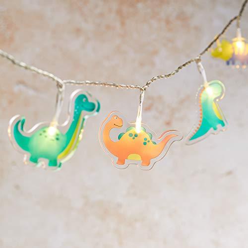 Lights4fun 12er LED Dinosaurier Lichterkette Acryl warmweiß Kinderzimmer Batteriebetrieb Timer