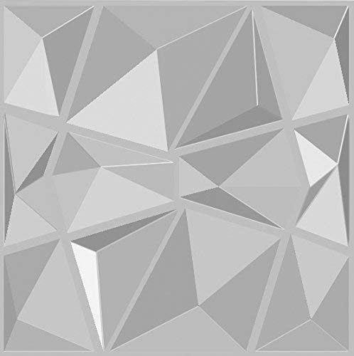 Paneles decorativos 3D para pared de fibra de bambú 100% natural. Mod. DIAMOND-BIT - Formato 50 x 50 cm, blanco