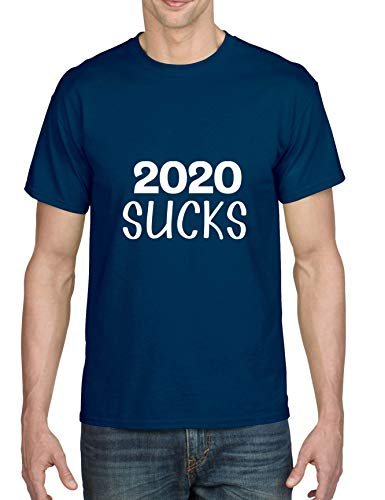 ALLNTRENDS Men's T Shirt 2020 Sucks Social Distancing Tshirt Funny Germs Tee (S, Navy Blue)
